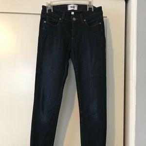 Paige straight legged dark wash jeans